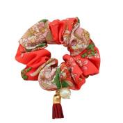 Rosehair 002-09 Flower Tassel Scrunchy for Ponytail