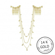Leaf Hair Chain Gold