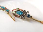 Sara Attali Design Amazing Colourful Hair Pin Bobby Pins Bridal Hair Clip Decorated with Turqoise Stone