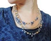 Sara Attali Design Amazing Beaded Necklace Purple Lilac, ivory, blue grey