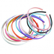 14pcs Seeko Polyester Cloth Wrap Plastic Frame Hair Band Hoop Headband