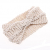 Ewandastore Women Wool Knitted Crochet Bow Winter Headband Ear Warmer Headgear Head Wrap Headwrap Hairband