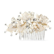 Meiysh Bridal Hair Side Comb with Hand Painted Gold Leaves, Freshwater Pearls and Crystals,Headpiece Wedding Accessories