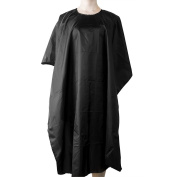 ELFINA Salon Hair Cut Cutting Nylon Cape Hairdressing Gown Barbers Cape, Black, Size 100cm x 140cm