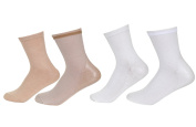 Makhry 2 Pairs Moisturising Spa Gel Socks for Hard Dry Cracked Skin Recovery Socks Pure Colour Bamboo Cotton Socks Women size 4-7 (Nude+White)