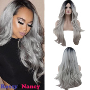 Rossy & Nancy Two Tones Synthetic Long Wave Heat Resistant Wig Free Part Ombre Black Rooted Silver Grey 130% High Density for Women