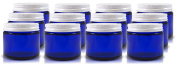 60ml Cobalt Blue Glass Straight Sided Jar, Lids Included,
