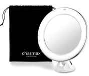 Charmax 7x Magnifying Lighted Makeup Mirror, Natural LED Light Bathroom Vanity Mirror, Ideal Wireless Travel Mirror w/ Bag, Chrome