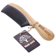 Woods World Green Sandalwood Natural Aroma Hair Comb Buffalo Horn Handmade Comb No Static Detangling