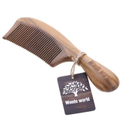 Woods World Handmade Natural Green Sandalwood Comb with Rounded Handle