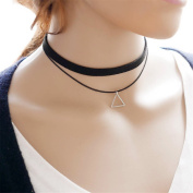 Adecco LLC Punk Gothic Long Black Velvet PU Leather Chain Necklace Stretch Tattoo Choker Elastic Tassel Necklaces