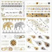 Gospire Premium Temporary Body Metal tattoo Sticker Metallic Shimmer Effect for Women Sexy Fashion 6 sheets pack
