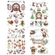 COKOHAPPY Christmas Temporary Tattoo , 4 Different Sheets Cute Elk Snowman Santa Claus ( One-set ) for Kid Children