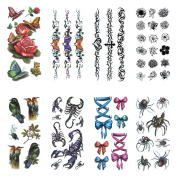 COKOHAPPY Temporary Tattoo , 8 Different Sheets 3D Spider Scorpio Flower Butterfly Bird ( One-set ) for Men Women