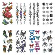 COKOHAPPY Temporary Tattoo , 8 Different Sheets 3D Spider Scorpio Flower Butterfly Bird ( One-set ) for Men Women