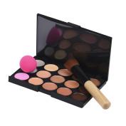 Makeup Brush,Baomabao 15 Colours Makeup Concealer Contour Palette + Water Sponge Puff + Makeup Brush