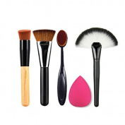 SHERUI 5pcs set Foundation Makeup Brushes + Make up Brush Washing Cleaner + Makeup Sponges