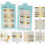 NICOLE DIARY 5Sheets Ultrathin Adhesive 3D Nail Sticker Laser Geometry/Arrows/Letter Decal Nail Decoration