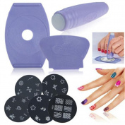 Salon Express Nail Art Stamping Kit with 5pcs Polish Stamp Design Decoration - Create 100's of Designs