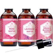 Leven Rose FLORAL WATER TONER SET - Organic Rose Water Toner, Lavender Water Toner and Orange Blossom Neroli Water Facial Toner for Face, Skin and Hair