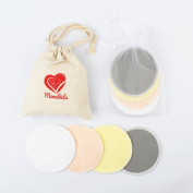MamikidsTM Bamboo Nursing Pads Washable Reusable Breastfeeding Pads with Laundry Bag and Travel Bag (8 pack colourful