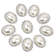 Tinksky 10pcs Oval Crystal Metal Rhinestone Pearl Bottons Buckles DIY Sewing Fasteners Accessories