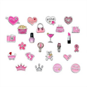 Q & Locket 24PCS Pink Style Love Heart Sister DIY Floating Charm For Living Memory Locket Necklace & Bracelet