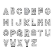 Q & Locket 26PCS A-Z Alphabet Letter Floating Charms Rinestone For Living Memory Locket Necklace & Bracelet