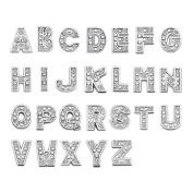 Q & Locket 26PCS A-Z Alphabet Letter Floating Charms Rinestone For Living Memory Locket Necklace & Bracelet