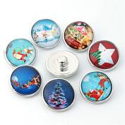 ZARABE 10PC Mix Snap Button 18MM Christmas Symbol Glass Rhinestone Jewellery Charms Random