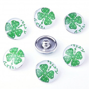 ZARABE 10PC Mix Snap Button 18MM Clover Glass Rhinestone Jewellery Charms Random