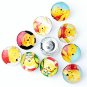 ZARABE 10PC Mix Snap Button 18MM Cute Bear Glass Rhinestone Jewellery Charms Random