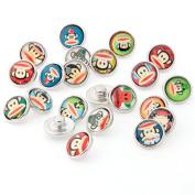 ZARABE 10PC Mix Snap Button 18MM Cute Monkey Glass Rhinestone Jewellery Charms Random