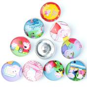 ZARABE 10PC Mix Snap Button 18MM Cute Pig Glass Rhinestone Jewellery Charms Random