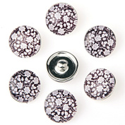 ZARABE 10PC Mix Snap Button 18MM Flowers Pattern Glass Rhinestone Jewellery Charms Random