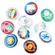 ZARABE 10PC Mix Snap Button 18MM Football Team Symbol Glass Rhinestone Jewellery Charms Random