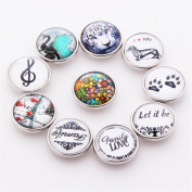 ZARABE 10PC Mix Snap Button 18MM Glass Rhinestone Jewellery Charms Random