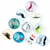 ZARABE 10PC Mix Snap Button 18MM Moustache Glass Rhinestone Jewellery Charms Random