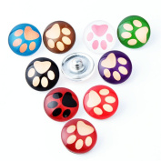 ZARABE 10PC Mix Snap Button 18MM Pet Paw Glass Rhinestone Jewellery Charms Random