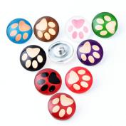 ZARABE 10PC Mix Snap Button 18MM Pet Paw Glass Rhinestone Jewellery Charms Random