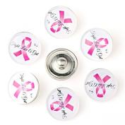 ZARABE 10PC Mix Snap Button 18MM Pink Ribbon Awareness Glass Rhinestone Jewellery Charms Random