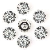 ZARABE 10PC Mix Snap Button 18MM Snow Heart Glass Rhinestone Jewellery Charms Random