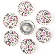 ZARABE 10PC Mix Snap Button 18MM Trees & Flowers Glass Rhinestone Jewellery Charms Random