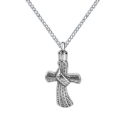 ZARABE Cremation Jewellery Cross with Ring Urn Necklace Memorial Ash Keepsake Pendant