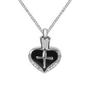 ZARABE Cremation Jewellery Black Drip Cross Heart Urn Necklace Memorial Ash Keepsake Pendant