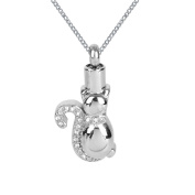 ZARABE Cremation Jewellery Cat White Diamonds Urn Necklace Memorial Ash Keepsake Pendant