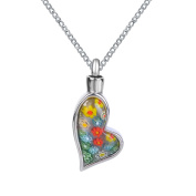 ZARABE Cremation Jewellery Colourful Flowers Irregular Heart Urn Necklace Memorial Ash Keepsake Pendant
