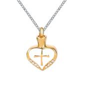 ZARABE Cremation Jewellery Golden Drip Cross Heart Urn Necklace Memorial Ash Keepsake Pendant