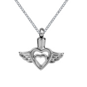 ZARABE Cremation Jewellery Hollow Heart and Angel Wings Urn Necklace Memorial Ash Keepsake Pendant