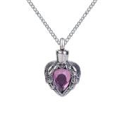 ZARABE Cremation Jewellery Purple Birthstone Heart Urn Necklace Memorial Ash Keepsake Pendant